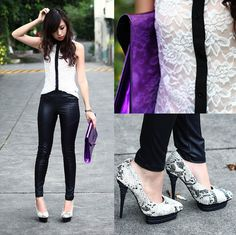 black and white lacey sleek