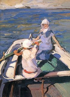 In the Boat : Nikolaos Lytras : Expressionism : genre painting - Oil Painting Reproductions Greek Paintings, Paintings I Love, Oil Paintings, Art And Illustration, Boat Art, Greek Art, Art Database, Oil Painting Reproductions, Sculpture