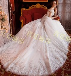 Free Shipping Royal Style Diamonds Studded Cathedral Train White Wedding Dress