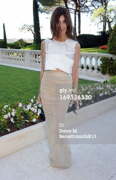 Carine Roitfeld wore our Rick Owens pearl long draped skirt for last nite amfAR in Cannes - shop the look!