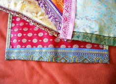 Photo: Sari placemats were made from old sari fabrics.    Craft makers Momtaz Begum-Hossain, Inkeri Medley and Lucy Fergus spoke about the benefits of using recycled materials. From financial reasons to aesthetic preferences to environmental concerns.
