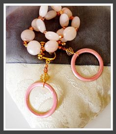 my work: handmade pink hoops with matching pink aventurine bracelet *photo by afs