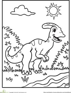 Color The Cute Dinosaur Hadrosaur Coloring PagesCute