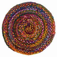 Set your inner gypsy free by decorating your rooms in color. Colorful bohemian rainbow throw rug is handmade of row after row of colored braided cotton Product Dimensions: 23 inches in diameter - each