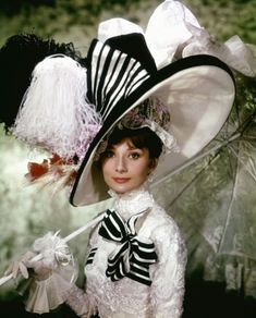 "MY FAIR LADY ~ Audrey Hepburn & Rex Harris, 1964. Music by Frederic Loewe, lyrics by Alan Jay Lerner, based on George Bernard Shaw's ""Pygmalion"". Click to see scene where Eliza Doolittle blunders the ""high society small talk""."