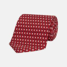Deco Neat Red Printed Silk Tie