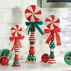 """Cute Peppermint Candy Spindles 8""""H - 12""""H (Set of 3) Wooden ~NEW~"""