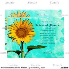 Watercolor Sunflower Rehearsal Dinner Invitation Personalize this beautiful custom designed wedding Rehearsal Dinner Invitation. This beautiful invitation features nature landscape photography of a beautiful summer sunflower with a blue - green watercolor background. Sunflower photographed at the Forks Of The River Wildlife Management Area in one of the many fields of flowers there. Matching products are available in my shop