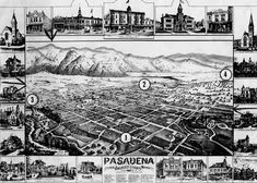 1886 map of Pasadena, when it was largely a town of orange groves