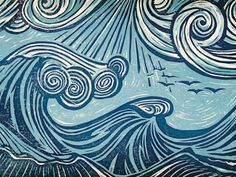 woodcut beach sea waves - Google zoeken
