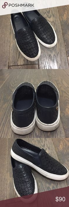 Tory Burch slip ons Dark navy Tory Burch slip ons in very good condition and only purchased this July! Runs true to size and goes with everything. Tory Burch Shoes Sneakers