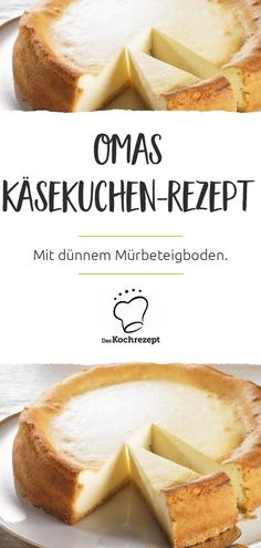 Omas Käsekuchen Rezept You are looking for a recipe that is as good as grandma's cheesecake? Here it is: a fluffy cheese cake on thin short crust pastry, no superfluous frills like raisins – the madness! Cheesecake Factory Recipes, Chocolate Cheesecake Recipes, Dessert Cake Recipes, Pie Dessert, No Bake Desserts, Cupcake Recipes, Fluffy Cheesecake, Looking For A Recipe, Shortcrust Pastry