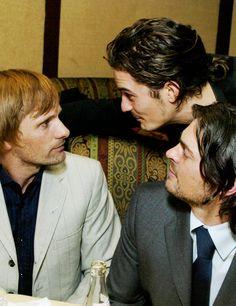 Viggo Mortensen, Orlando Bloom, & Karl Urban.. Can I squeeze in there somewhere please?
