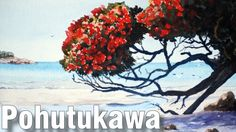 How to Paint Pohutukawa Trees at the Beach in Watercolour - Online Art Lessons Painting Lessons, Art Lessons, Painting & Drawing, Painting Classes, Watercolor Cards, Watercolor Paintings, Watercolors, Online Art Classes, Nz Art