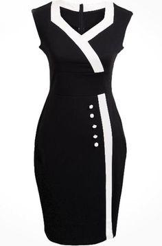 Black V Neck Sleeveless Buttons Bodycon Dress