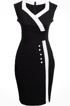 Black V Neck Sleeveless Buttons Bodycon Dress