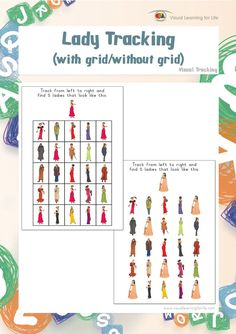 "In the ""Lady Tracking"" worksheets, the student must find all of the ladies that look the same as the example at the top of the page.  This file contains 20 worksheets.  Visual Perceptual Skills Addressed:  Figure Ground   Figure Ground perception is the ability to screen out any irrelevant visual material when presented with a lot of visual information at one time (to locate the important stimulus without getting confused by the background or surrounding images). This skill is key for good…"