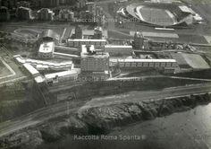 : EUR – Foto aerea dell'area compresa tra il Velodromo e la sponda sinistra del Tevere vista da nord ovest Anno: 1965