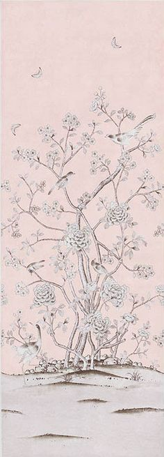 Chinois Palais   5007121 in Blush Conch   Schumacher Wallcoverings   Inspired by an antique Chinese silk panel, this design features exotic birds and cherry blossoms and is true to the original scale. Available as a printed linen and a wallcovering.