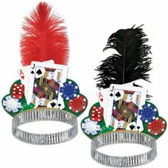 A must for any casino night! The Casino Night Tiara features a silver foil headband, graphic with playing cards, dice, and poker chips Las Vegas Party, Vegas Theme, Casino Night Party, Vegas Casino, Casino Party Decorations, Casino Theme Parties, Themed Parties, Casino Royale, Las Vegas Costumes