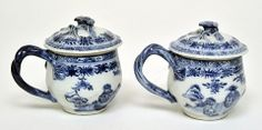 Custard Cups and Covers, c.1745-55  Part of a set of four custard cups and covers, c.1745-55  Hard paste porcelain and underglazed blue, Chinese, Jingdezhen