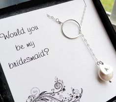 Bridesmaid gift set of SIX  cards with pearl and inital necklaces, bridesmaid cards, bridesmaid thank you, lariat necklaces. $166.50, via Etsy.