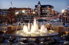 Dusk in Bricktown, downtown Oklahoma City OKC Oklahoma. Running water in fountain, Christmas lights Great Places, Places To See, Places Ive Been, Beautiful Places, Bricktown Oklahoma City, Travel Oklahoma, Oklahoma Usa, Travel Route, So Little Time