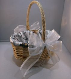 Flower Girl Basket Snow Camo Camouflage Lined White by jbconaway, $24.99