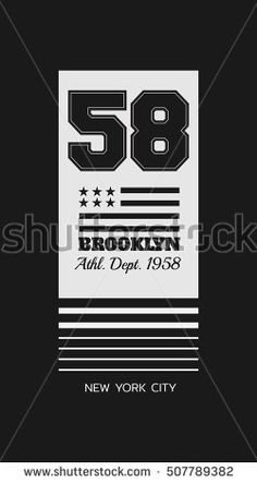 Vector illustration on the theme in New York City, Brooklyn. Stylized American flag. Number sport typography, t-shirt graphics, print, poster, banner; flyer, postcard