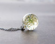 Queen Anne's Lace necklace - real dried flowers in glossy ice resin - High quality flowers pendant