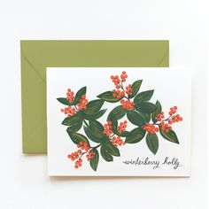 Winterberry Holly Card by Rifle Paper Co   Available www.LETLIV.co.nz