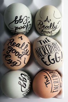 Get creative with these DIY hand-lettered Easter eggs.