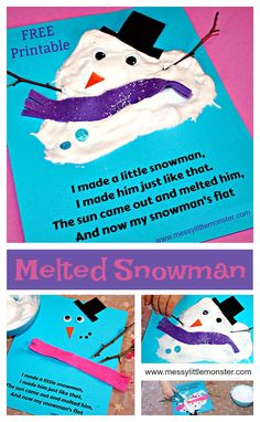 Melted Snowman Craft and Poem An easy melted snowman kids craft and (free) printable poem using a simple puffy paint recipe that uses shaving foam and glue. A fun snow or winter art or literacy project for toddlers and preschoolers as well as older kids. Winter Art Projects, Winter Crafts For Kids, Winter Kids, Projects For Kids, Craft Projects, Pallet Projects, Craft Ideas, Daycare Crafts, Toddler Crafts