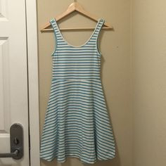 Vero Moda Teal and White Striped Dress Cute, flowy dress perfect for a lunch out or a dinner on the beach. Barely worn, in great condition. Soft cotton fabric. Vero Moda Dresses Mini