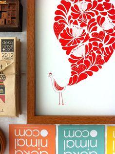 A Little Flower Peacock Print / Red Bird animal Illustration Flower Pattern Wedding idea Birthday Anniversary Gifts via Etsy