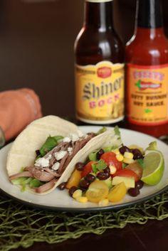 Slow Cooked Shiner Bock Beef Brisket Tacos and Avocado Salad