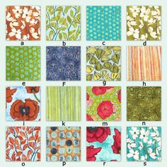 One collection showing samples from over 100 available on this Etsy site. Customers can choose their design for items custom made on the Etsy site. #fabric