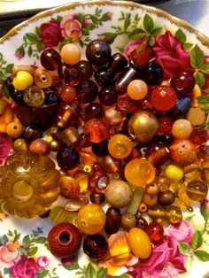 Vintage   bead mix  orange red browns  mixed lot  by pinksupply, $6.55