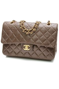 Chanel Vintage Brown Quilted Lambskin Classic Medium Double Flap Bag $1,899.99