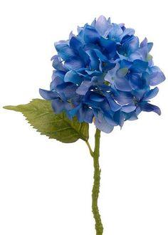 "Silk Flower Hydrangea Stem in Two Tone Blue 6"" Bloom x 13.5"" Tall"