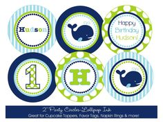 Preppy Whale Printable Party Circles, DIY Personalized Blue and Green Whale Boy Cupcake Toppers, Favor Tags Whale Birthday, Baby Boy Birthday, 1st Birthday Parties, Birthday Ideas, Whale Party, Nautical Party, Navy Party, Cupcakes For Boys, Party Themes For Boys