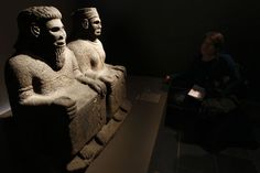Aramean: Statue depicting pair of orants, Tell Halaf, 9th C. BCE.
