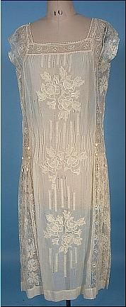 1926 Batiste and lace dress, looks like the one my grandmother wore in her 1927 wedding