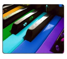 Music Piano Keys Rainbow Colors Mouse Pads Customized Made to Order Support Ready 9 7/8 Inch (250mm) X 7 7/8 Inch (200mm) X 1/16 Inch (2mm) High Quality Eco Friendly Cloth with Neoprene Rubber MSD Mouse Pad Desktop Mousepad Laptop Mousepads Comfortable Computer Mouse Mat Cute Gaming Mouse pad -- See this great product.