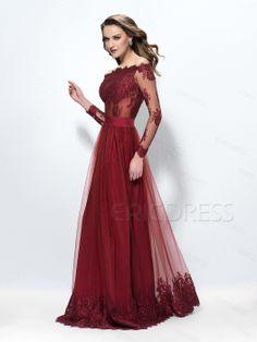 Superb Off-The-Shoulder A-Line Long Sleeves Lace Button Evening Dress Evening Dresses 2014- ericdress.com 10880049