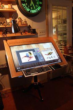 Drawing Machine Huge Screen - Digital Drafting Table Board - Draw on the screen with fully pressure sensitivity, Digital Artist OOAK Home Office Setup, Desk Setup, Room Setup, Home Office Design, House Design, Gaming Setup, Art Studio Room, Art Studio Design, Studio Setup