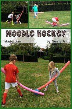 Noodle Hockey - a fast paced game of hockey using pool noodles. Great for playing with large group of children. Camping Games For Adults, Sports Games For Kids, Outdoor Games For Kids, Games For Teens, Kids Camp Games, Preschool Outdoor Games, Outside Games For Kids, Group Camping, Truck Camping