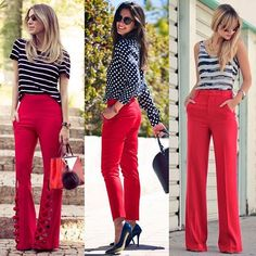Work look - Look of the day - Corporate look - Fashion at work - Work outf . Diva Fashion, Curvy Fashion, Look Fashion, Fashion Outfits, Fashion Scarves, 1950s Fashion, Vintage Fashion, Red Jeans Outfit, Red Pants