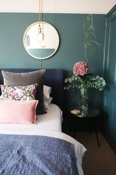 Calm contemporary bedroom with a pink and blue colour scheme. Walls in Farrow & Ball Inchyra Blue an. Calm contemporary bedroom with a pink and blue colour scheme. Walls in Farrow & Ball Inchyra Blue an. Trendy Bedroom, Modern Bedroom, Contemporary Bedroom Decor, Feminine Bedroom, Bedroom Green, Blue Bedrooms, Bedroom With Blue Walls, Painting Bedroom Walls, Blue Ceiling Bedroom