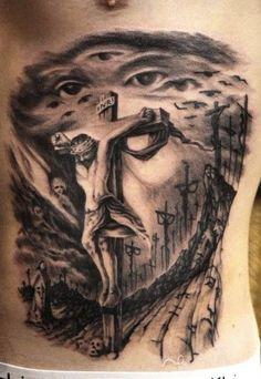 Jesuss in a field of crosses tattoo